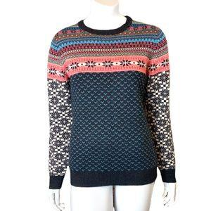 Neve Apres Ski 100% Merino Wool Fair Isle Crew Neck Pullover Sweater